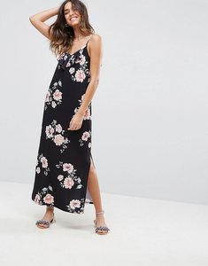 Read more about Asos floral print maxi dress with asymmetric frill detail - floral print