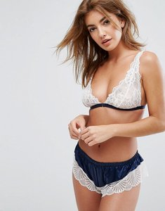 Read more about Glamorous navy satin lace triangle bra - navy