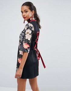 Read more about Asos high neck black base floral mini shift dress - multi
