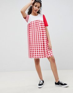 Read more about Asos design gingham mix smock dress - gingham