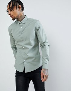 Read more about Asos design slim shirt in green with button down collar - green