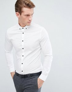 Read more about Asos skinny shirt in white with button down collar and contrast buttons - white
