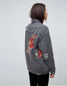 Read more about Uncivilised floral embroidered destroyed denim jacket - washed black