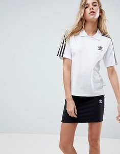 Read more about Adidas originals white three stripe polo t-shirt - white