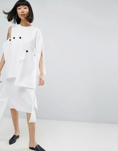 Read more about Asos white midi dress with layered button detail - cream