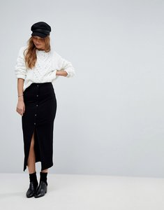 Read more about Asos rib popper midi skirt - black