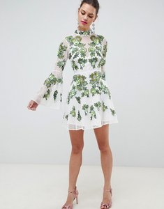 Read more about Asos edition floral embroidered and embellished mini skater dress - green