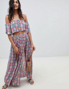 Read more about Asos design beach co-ord maxi skirt in mosaic tile - mosaic tile