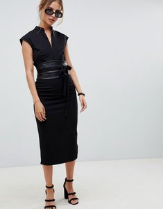 Read more about Asos design pencil midi dress with faux leather obi belt - black