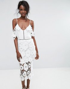Read more about Missguided strappy frill lace midi dress - white