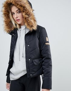 Read more about Noisy may faux fur padded parka - black