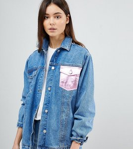 Read more about Chorus tall metallic foil pocket oversized denim jacket - blue pink
