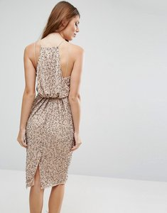 Read more about Asos drape back embellished midi dress - nude