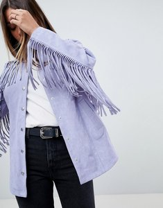 Read more about Asos fringe suede jacket - lilac
