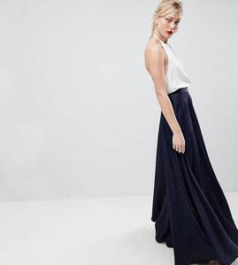 Read more about Asos design tall satin maxi skirt with centre front split - navy