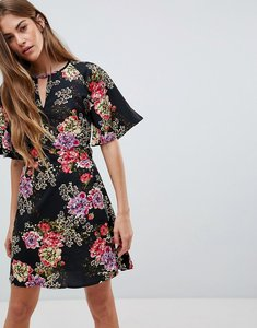 Read more about Daisy street floral print dress with split neck detail - black