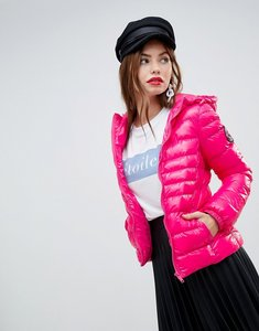 Read more about Brave soul everett padded coat with hood in shine finish - pink
