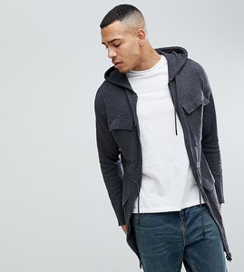 Read more about Asos tall knitted parka in charcoal - charcoal