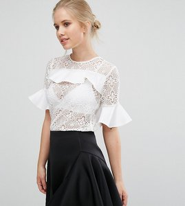 Read more about Closet lace blouse with satin ruffle detail - white