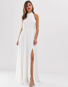 Read more about Frock frill high neck maxi dress with embellsihed detail