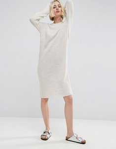 Read more about Asos knitted midi dress with side zip detail - oatmeal