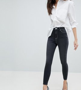 Read more about Asos ridley high waist skinny jeans in washed black with twisted seam and contrast stitch - washed b