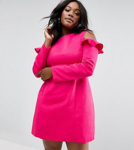Read more about Asos curve cold shoulder structured dress with ruffle - pink