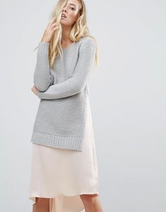Read more about Qed london jumper with split sides - grey marl