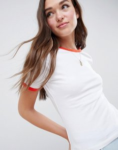 Read more about Asos design t-shirt with contrast trim in in white red - white red