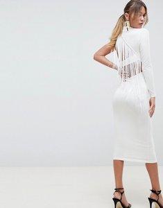 Read more about Asos design one shoulder fringe back midi dress - ivory