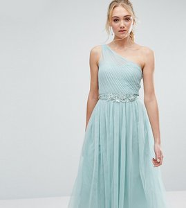 Read more about Little mistress tall full prom tulle one shoulder midi dress with lace applique - sage