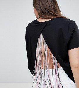 Read more about Asos design curve t-shirt with wrap fringe back in black - black