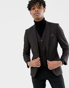Read more about French connection slim fit plain burgundy suit jacket - red