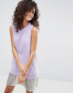 Read more about Asos sleeveless crepe mini dress with pleated foil hem - lilac silver