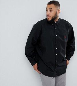 Read more about Polo ralph lauren big tall poplin shirt player logo button down in black - polo black