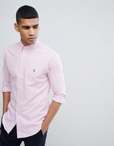 Read more about Polo ralph lauren gingham slim fit oxford shirt polo player in pink - pink