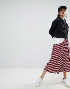 Read more about Stradivarius multi stripe plisse midi skirt - red