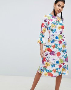 Read more about Asos design fluted sleeve midi dress in summer floral print - multi