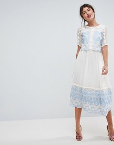 Read more about Asos premium double layer midi embroidered dress - multi