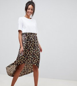 Read more about Asos design tall mixed print smock dress with hi low hem - leopard