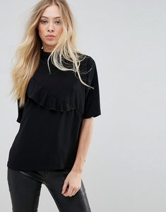 Read more about B young ruffle high neck blouse - black