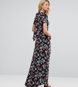 Read more about Asos tall maxi dress with deconstructed back in floral print - black