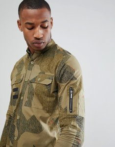 Read more about Only sons regular fit shirt with all over print and military pockets - dried herb