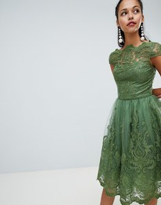 Read more about Chi chi london premium lace midi dress with cap sleeve - green