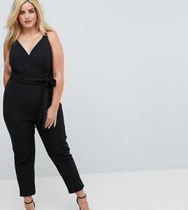 Read more about Asos curve wrap front jumpsuit with peg leg and self belt - black
