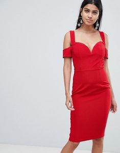 Read more about Rare london bardot knot sleeve dress - red