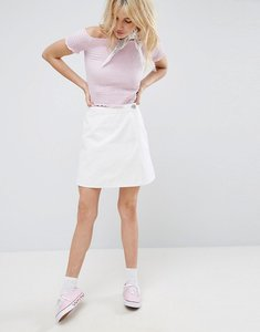 Read more about Asos denim wrap skirt in white - white