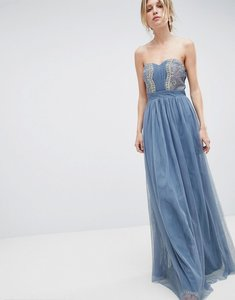 Read more about Little mistress bandeau maxi dress with lace detail