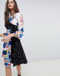 Read more about Asos spot and floral midi dress with fluted sleeve - multi