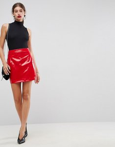 Read more about Asos vinyl a line mini skirt - red